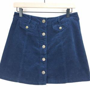 Forever 21 Blue Corduroy Button Front Mini Skirt L